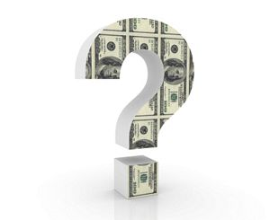 Question mark with money inside it.