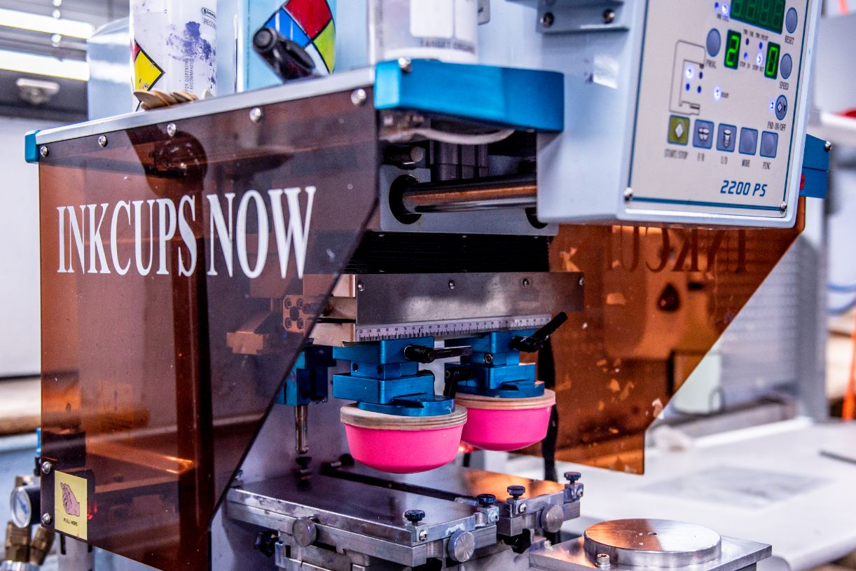 Inkcups now packaging machine for promotional products at extreme molding watervliet ny